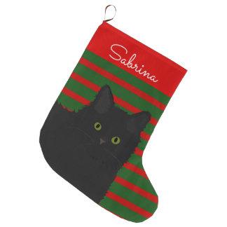 Grande Chaussette De Noël Chat noir personnalisé
