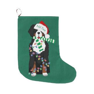 Grande Chaussette De Noël Chien fait sur commande de vacances de montagne de