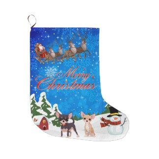 Grande Chaussette De Noël Chiwawa de Joyeux Noël avec Père Noël