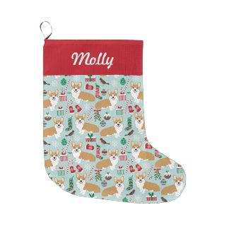 Grande Chaussette De Noël Corgi stockant - Noël mignon de conception de