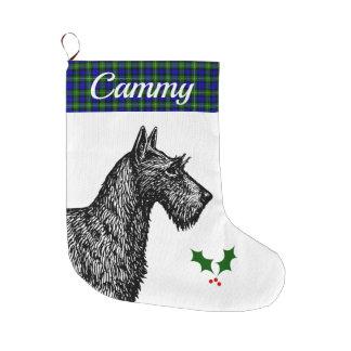 Grande Chaussette De Noël Écossais Terrier avec le tartan de Campbell de