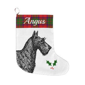 Grande Chaussette De Noël Écossais Terrier avec le tartan de Grant de clan