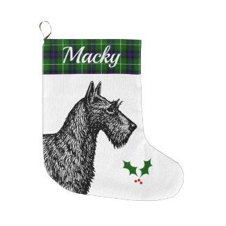 Grande Chaussette De Noël Écossais Terrier avec le tartan de MacDonald de