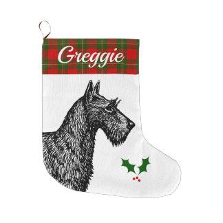 Grande Chaussette De Noël Écossais Terrier avec le tartan de MacGregor de