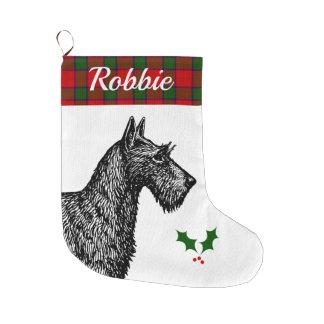 Grande Chaussette De Noël Écossais Terrier avec le tartan de Robertson de