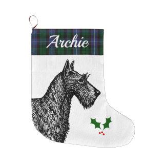 Grande Chaussette De Noël Écossais Terrier avec le tartan de Russell de clan