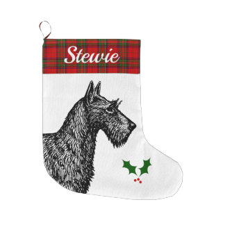 Grande Chaussette De Noël Écossais Terrier avec le tartan de Stewart de clan
