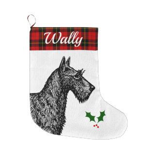 Grande Chaussette De Noël Écossais Terrier avec le tartan de Wallace de clan