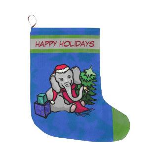 Grande Chaussette De Noël Éléphant adorable de Noël de bande dessinée de