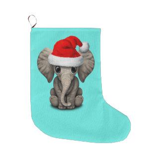 Grande Chaussette De Noël Éléphant de bébé utilisant un casquette de Père
