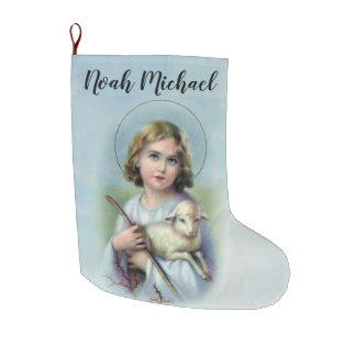 Grande Chaussette De Noël Enfant personnalisé Jésus avec l'agneau