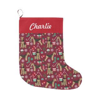 Grande Chaussette De Noël enveloppe de cadeau de Noël de terrier d'airedale