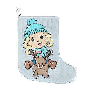 Grande Chaussette De Noël Fille sur un cerf commun