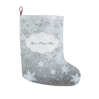 Grande Chaussette De Noël Flocons de neige sur la glace