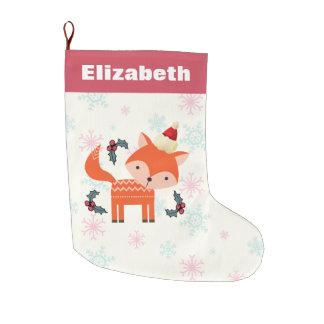 Grande Chaussette De Noël Fox orange dans Noël mignon de casquette de Père