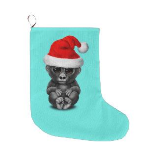 Grande Chaussette De Noël Gorille de bébé utilisant un casquette de Père