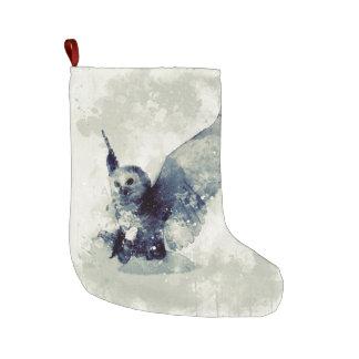 Grande Chaussette De Noël Hibou merveilleux dans l'aquarelle