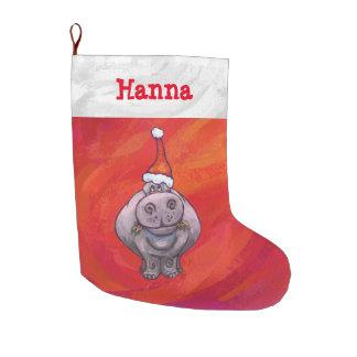 Grande Chaussette De Noël Hippopotame mignon dans le casquette de Père Noël