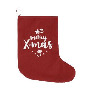 Grande Chaussette De Noël Joyeux Noël rouge et blanc