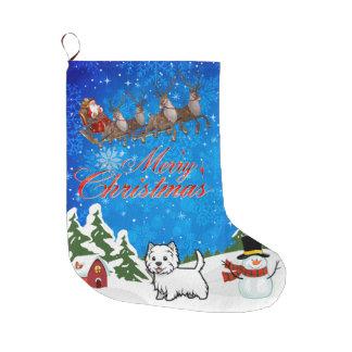 Grande Chaussette De Noël Joyeux Noël Terrier des montagnes occidental
