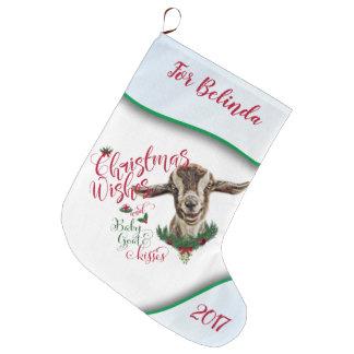 Grande Chaussette De Noël La chèvre de bébé de souhaits de Noël de la CHÈVRE
