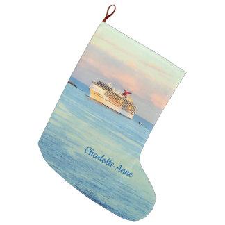 Grande Chaussette De Noël Lever de soleil en pastel avec le bateau de