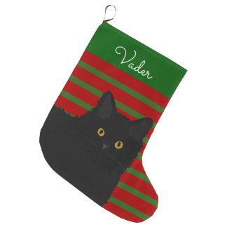 Grande Chaussette De Noël Longs cheveux de chat noir personnalisés