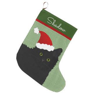 Grande Chaussette De Noël Longs yeux verts de chat noir de cheveux de Père