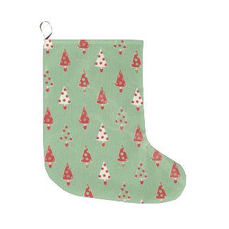 Grande Chaussette De Noël Motif d'arbres de Noël