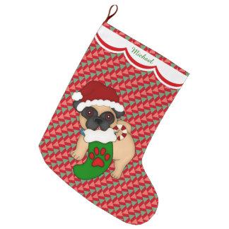 Grande Chaussette De Noël Motif de chiot de carlin personnalisé