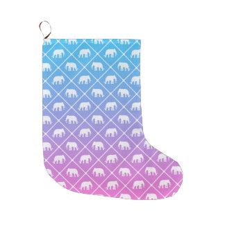 Grande Chaussette De Noël Motif d'éléphant sur le bleu pour denteler le