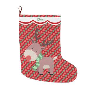 Grande Chaussette De Noël Motif drôle de renne personnalisé