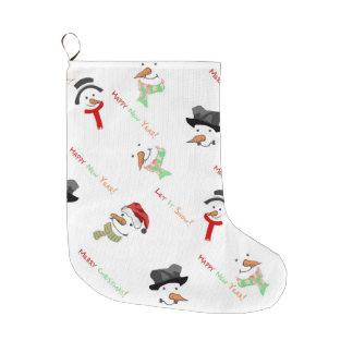 Grande Chaussette De Noël Motif lunatique de bonhomme de neige de Noël