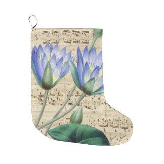 Grande Chaussette De Noël Musique bleue de nénuphar