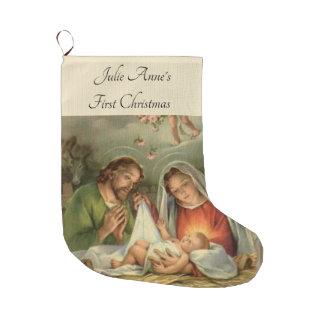 Grande Chaussette De Noël Nativité sainte Jésus Mary Joseph de famille de