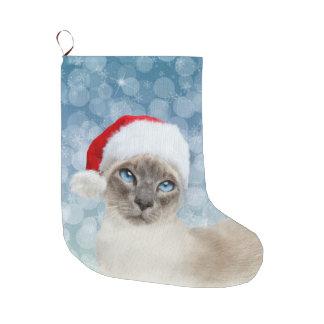 Grande Chaussette De Noël Noël de chat siamois de point bleu