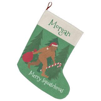 Grande Chaussette De Noël Noël de Père Noël Squatch pour des enfants