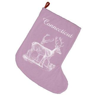 Grande Chaussette De Noël Noël mauve personnalisé de renne d'opéra rustique
