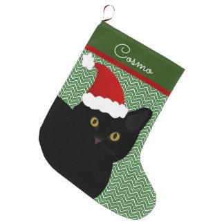Grande Chaussette De Noël Noir de chat de Père Noël avec les yeux jaunes