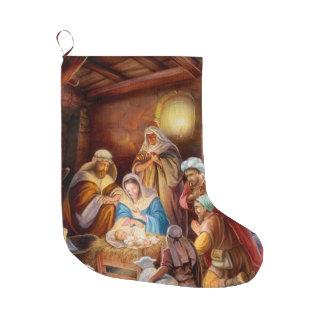 Grande Chaussette De Noël Nuit sainte Jésus dans la mangeoire