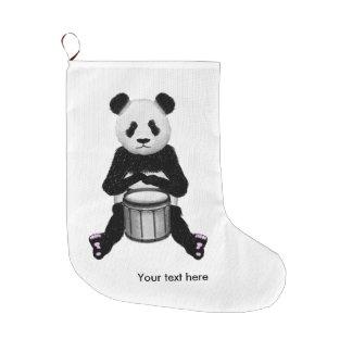Grande Chaussette De Noël Panda drôle jouant des tambours