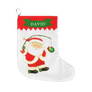 Grande Chaussette De Noël Pêcheur Père Noël
