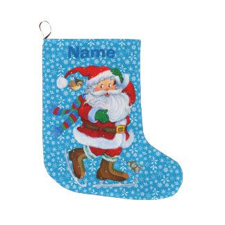 Grande Chaussette De Noël père Noël sur le bas de Noël de raies de glace