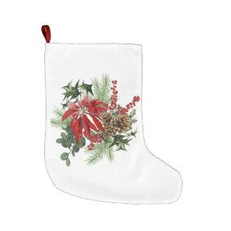 Grande Chaussette De Noël poinsettia vintage moderne de vacances florale