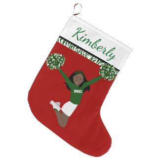 Grande Chaussette De Noël Pom-pom girl d'Afro-américain dans vert et le