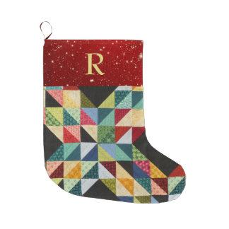 Grande Chaussette De Noël Stockage de Noël de MONOGRAMME de patchwork
