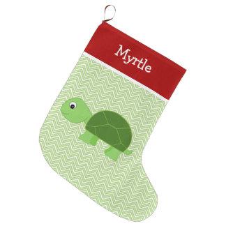 Grande Chaussette De Noël Tortue d'animal familier personnalisée