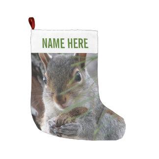 Grande Chaussette De Noël Un écureuil mignon avec l'amusement de vacances de