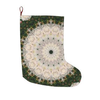 Grande Chaussette De Noël Vacances florales de mandala de pivoine verte et