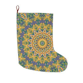 Grande Chaussette De Noël Vacances jaunes et bleues de mandala de tapisserie